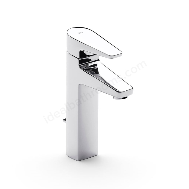 Roca ESMAI Extended Basin Mixer Tap, Pop Up Waste, 1 Tap Hole, Chrome