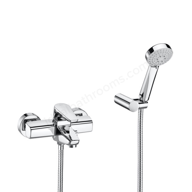 Roca ESMAI Wall Mounted Bath Shower Mixer Tap, with Shower Handset, 2 Tap Hole, Chrome