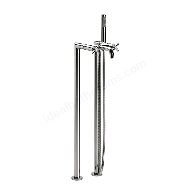 Roca LOFT Floorstanding Bath Shower Mixer Tap, with Shower Handset, 2 Tap Hole, Chrome