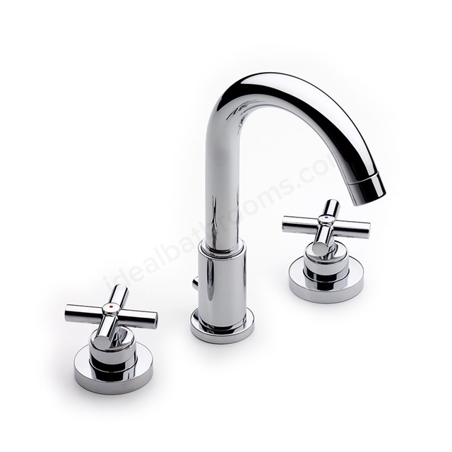 Roca LOFT Basin Mixer Tap with Swivel Spout, Pop Up Waste, 3 Tap Hole, Chrome
