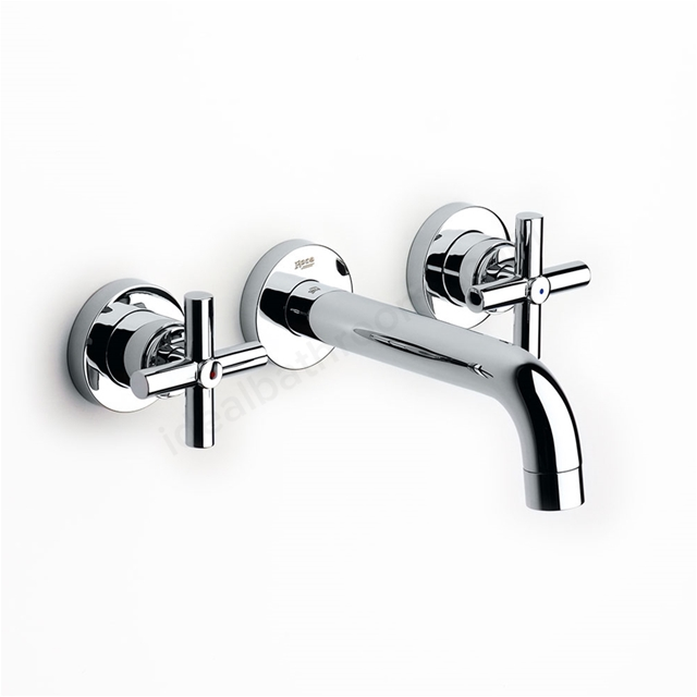 Roca LOFT Wall Mounted Concealed Basin Mixer Tap, No Waste, 190mm Spout, Chrome
