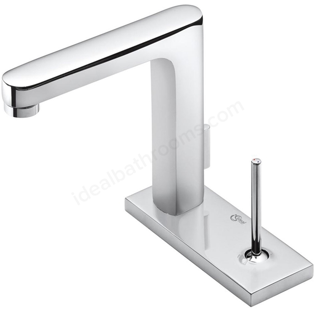 Ideal Standard SIMPLY U Basin Mixer Tap, Rectangular Spout, 1 Rectangular Escutchen, with Pop Up Waste, 1 Tap Hole, Chrome