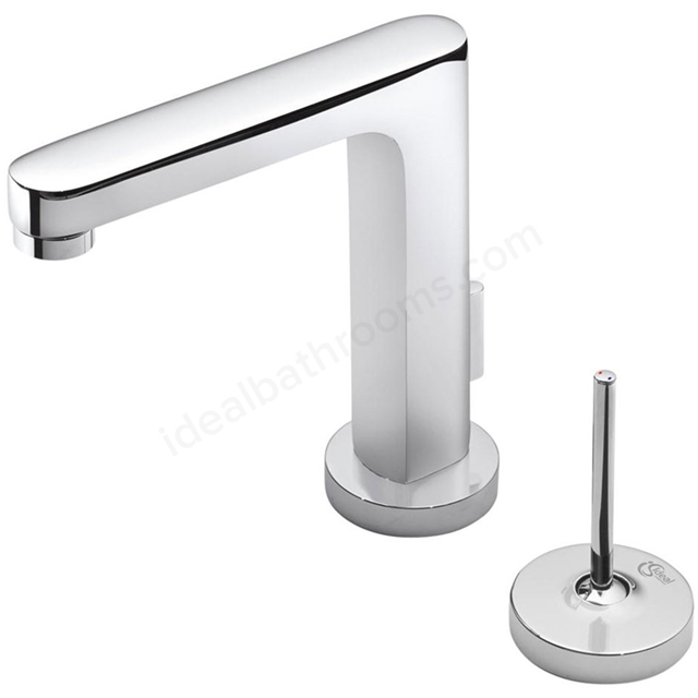 Ideal Standard SIMPLY U Basin Mixer Tap, Rectangular Spout, 2 Round Escutchen, with Pop Up Waste, 1 Tap Hole, Chrome