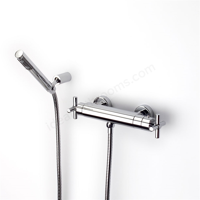 Roca LOFT-T Wall Mounted Thermostatic Shower Mixer Valve. With Shower Handset; 2 Tap Hole; Chrome