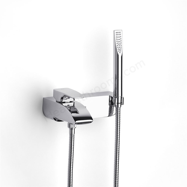 Roca THESIS Wall Mounted Bath Shower Mixer Tap, with Shower Handset, 2 Tap Hole, Chrome