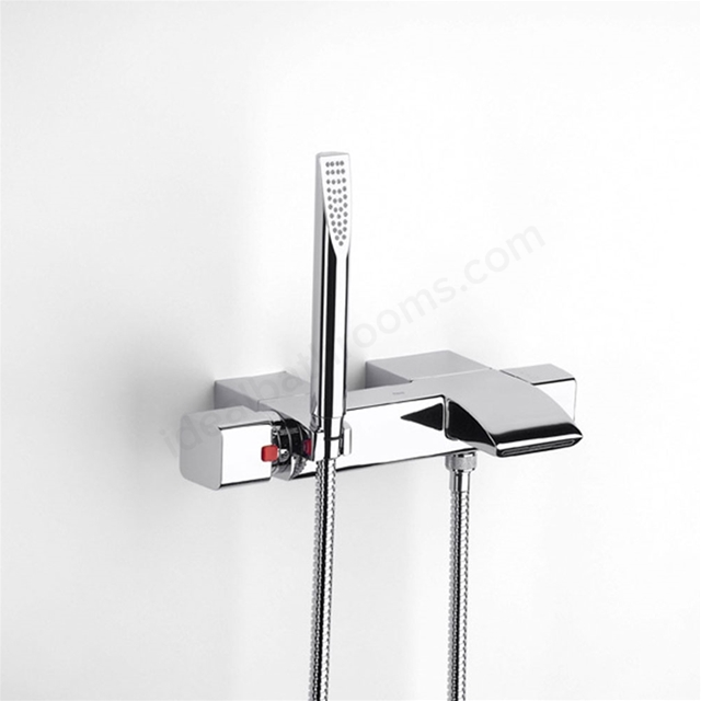 Roca THESIS-T Wall Mounted Thermostatic Bath Shower Mixer Tap, with Shower Handset, 2 Tap Hole, Chrome