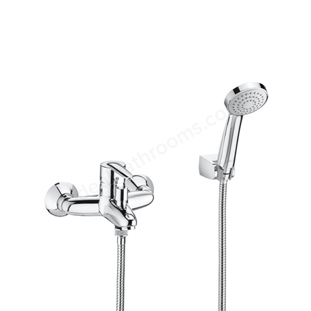 Roca VECTRA Wall Mounted Bath Shower Mixer Tap, with Shower Handset, 2 Tap Hole, Chrome