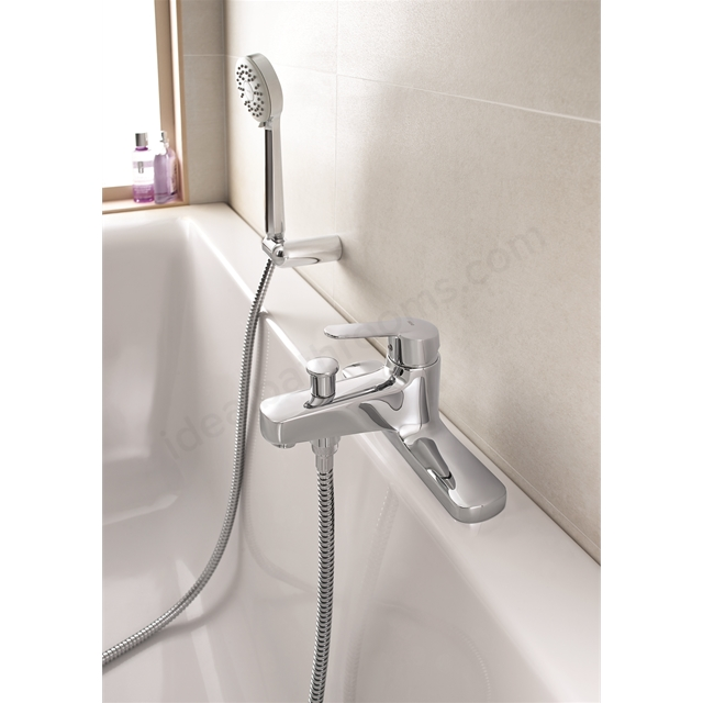 Roca Roca VICTORIA Bath Shower Mixer Tap; with Shower Handset; 2 Tap Hole; Chrome