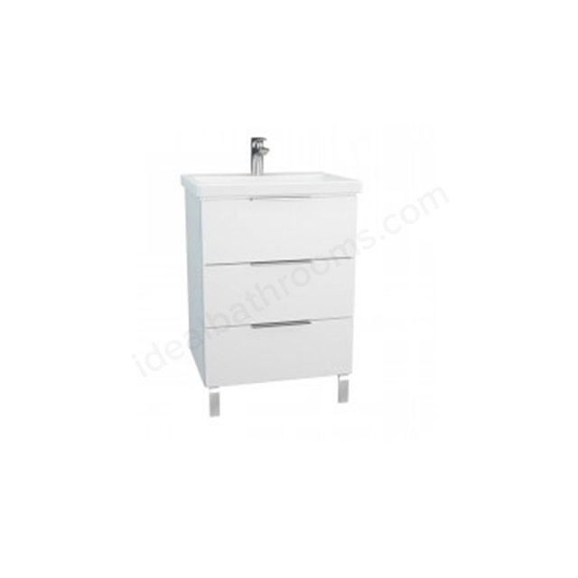 Vitra Ecora Washbasin White Unit; 3 Drawers; with Leg; Including Basin; 60 cm
