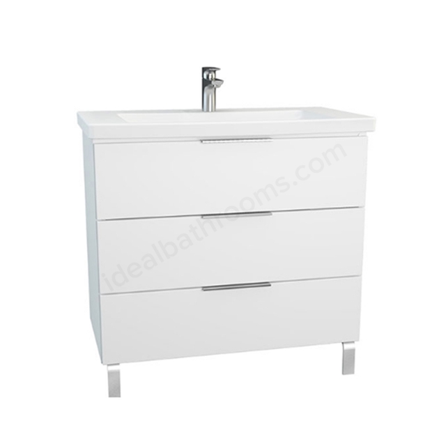 Vitra Ecora Washbasin Unit - White; 3 Drawers; with Leg; Including Basin; 90 cm