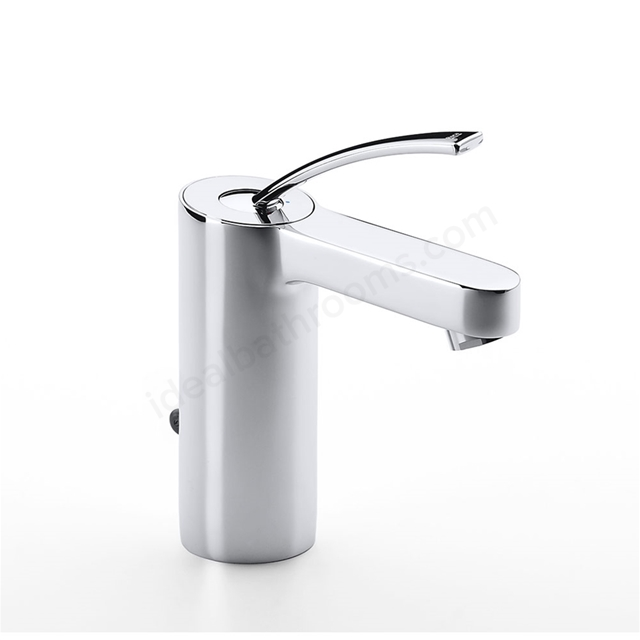 Roca MOAI Basin Mixer Tap, Pop Up Waste, 1 Tap Hole, Chrome