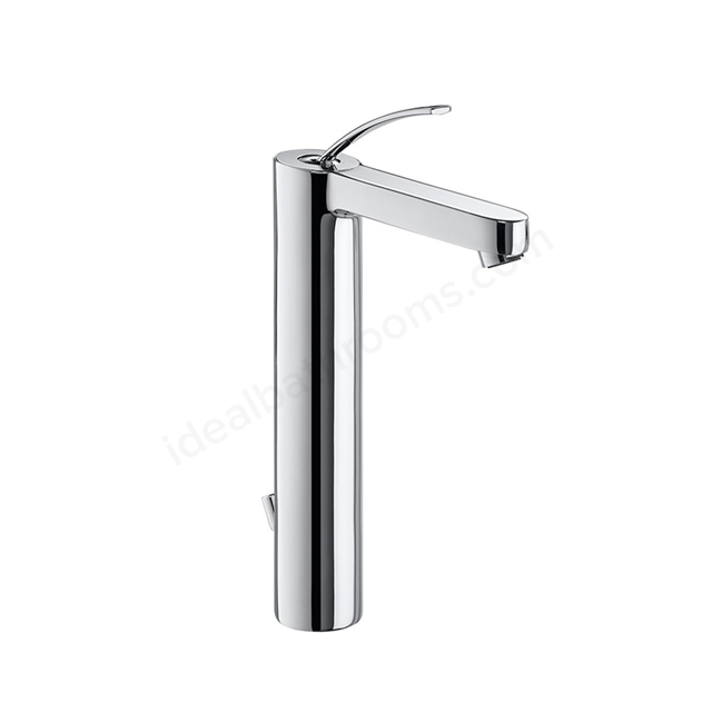 Roca MOAI Extended Basin Mixer Tap, Pop Up Waste, 1 Tap Hole, Chrome