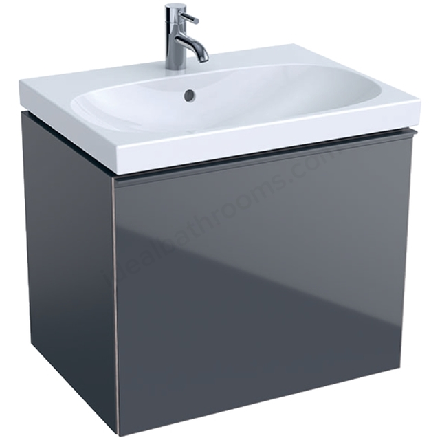 Geberit Acanto 650mm Washbasin Unit Lava Matt