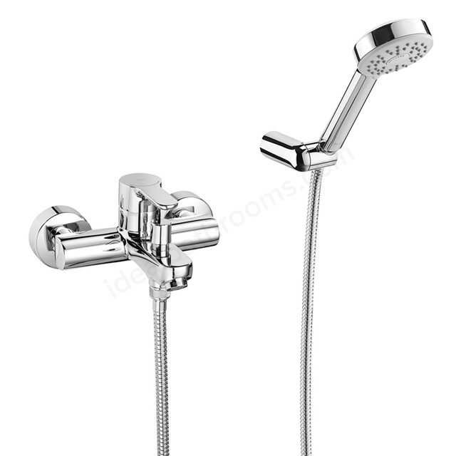Roca L20 Wall Mounted Bath Shower Mixer Tap, with Shower Handset and Bath Spout, Chrome