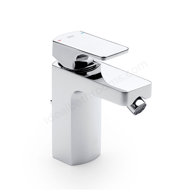 Roca L90 Bidet Mixer Tap, Pop Up Waste, 1 Tap Hole, Chrome