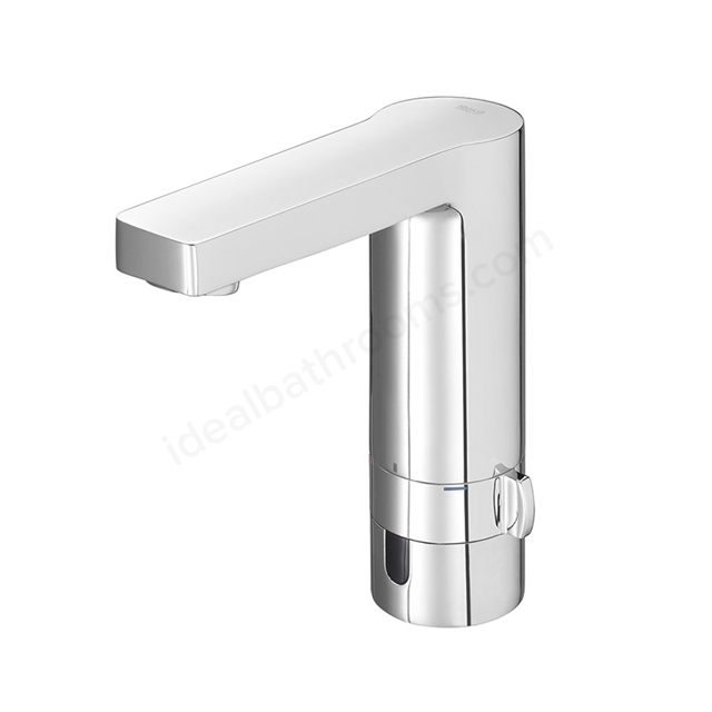 Roca L90 Battery Electronic Basin Mixer Tap, Pop Up Waste, 1 Tap Hole, Chrome