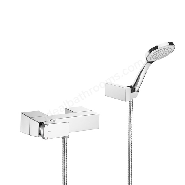 Roca L90 Wall-mounted shower mixer with 1.50 m flexible shower hose, handshower and swivel wall bracket - Chrome