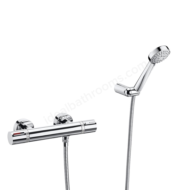 Roca T-1000 Wall Mounted Shower Mixer Tap, with Shower Handset, 2 Tap Hole, Chrome
