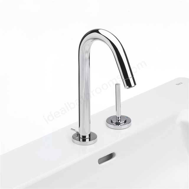 Roca SINGLES-PRO Basin Mixer Tap with Separate Joystick Control, Pop Up Waste, 2 Tap Hole, Chrome