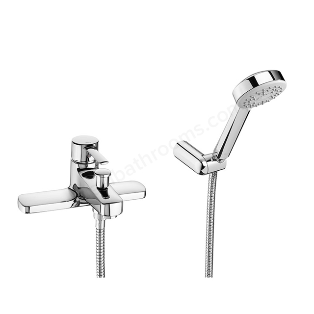 Roca TARGA Bath Shower Mixer Tap, with Shower Handset, 2 Tap Hole, Chrome
