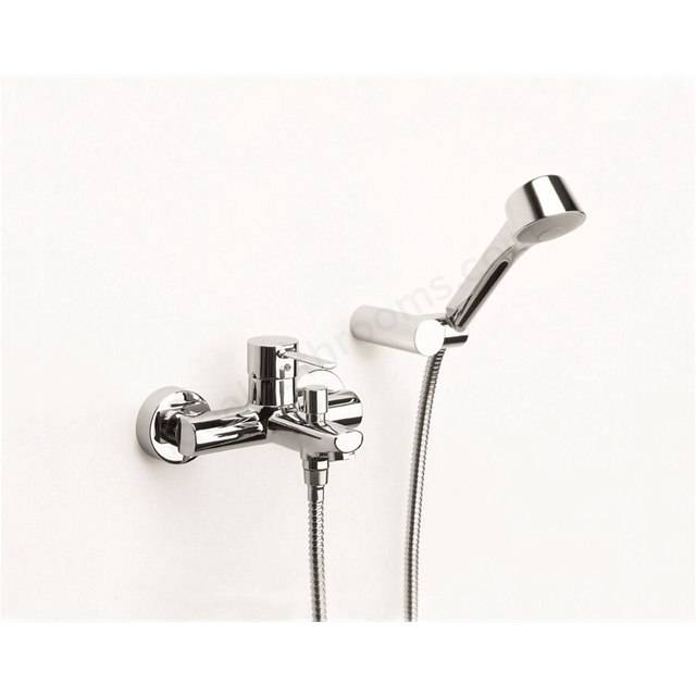 Roca TARGA Wall Mounted Bath Shower Mixer Tap, with Shower Handset, 2 Tap Hole, Chrome