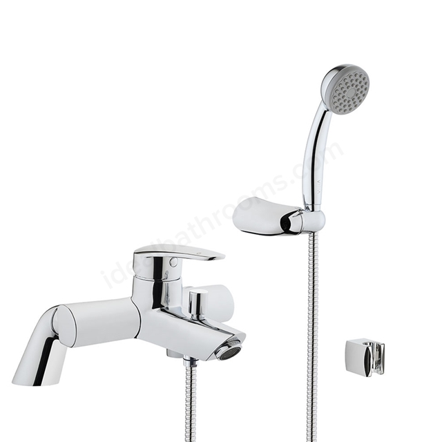 Vitra DYNAMIC Bath Shower Mixer Tap + Shower Kit, 2 Tap Hole, Chrome
