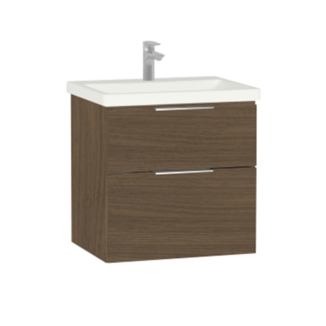 Vitra Ecora Washbasin Dark Oak Unit; 2 Drawers; with Leg; Including Basin; 60 cm