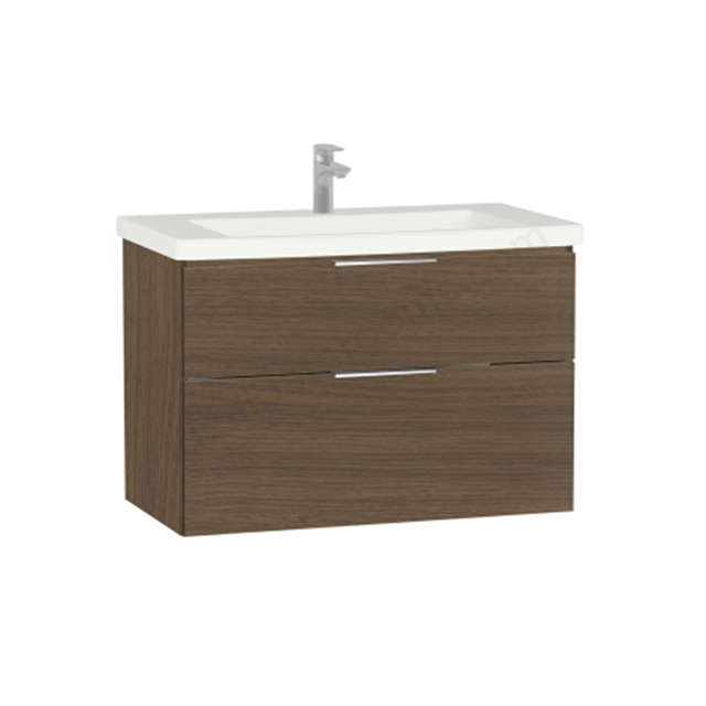 Vitra Ecora Washbasin Unit - Oak; 2 Drawers; with Leg; Including Basin; 90 cm