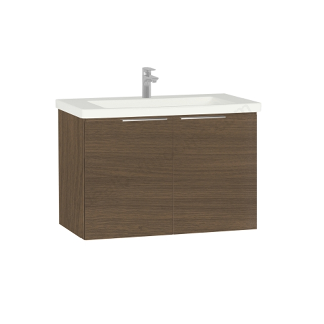 Vitra Ecora Washbasin Unit - Oak; with Door; Including Basin; 90 cm