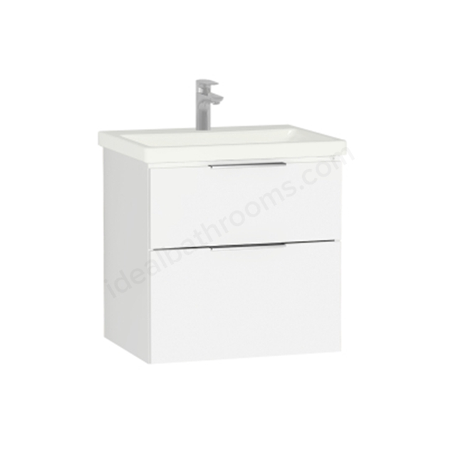 Vitra Ecora Washbasin Unit - White; 2 Drawers; with Leg; Including Basin; 60 cm