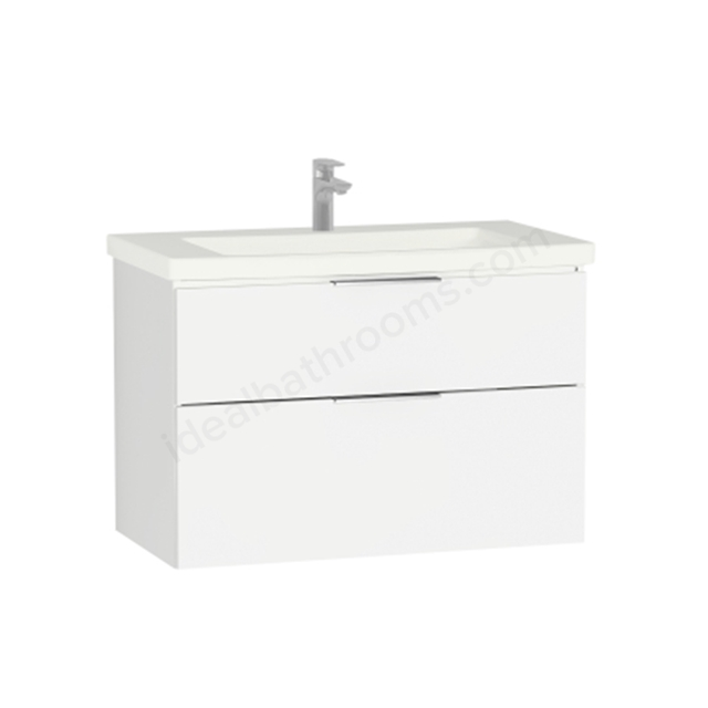 Vitra Ecora Washbasin Unit - White; 2 Drawers; with Leg; Including Basin; 90 cm