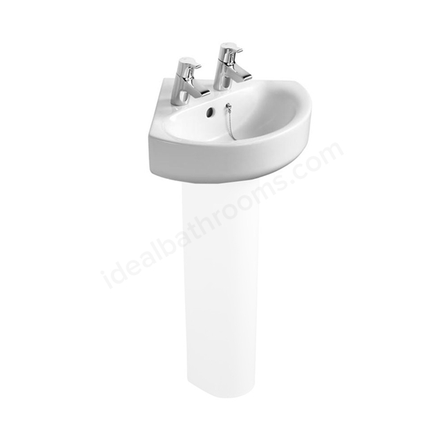 Ideal Standard CONCEPT ARC Corner Basin; 2 Tap Hole; 450mm; White