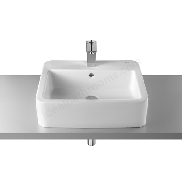 Roca ELEMENT On-Countertop Basin; 1 Tap Hole; 550mm Wide; White