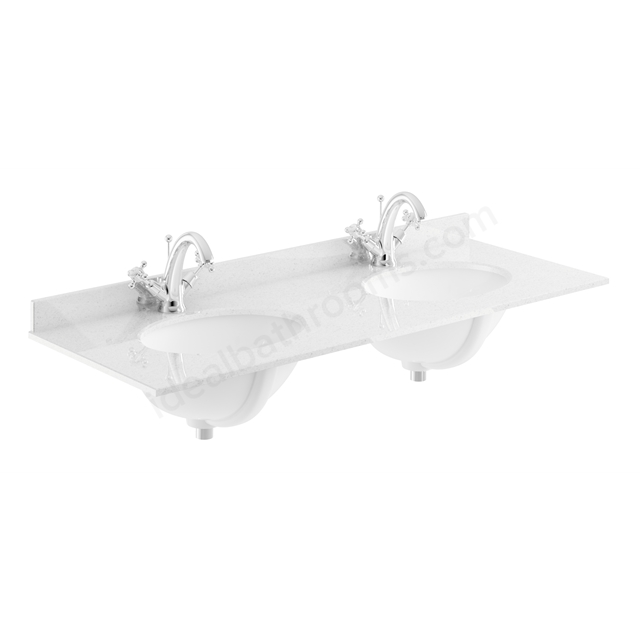 Bayswater White 1200mm Double Bowl 1 Tap Hole
