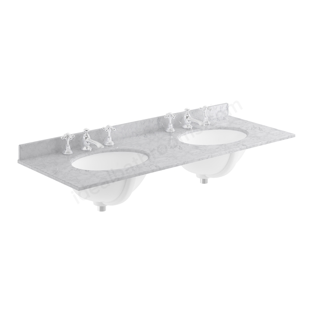 Bayswater Grey 1200mm Double Bowl 3 Tap Hole