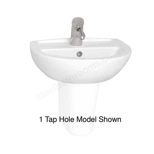 Vitra LAYTON Cloakroom Basin; 2 Tap Hole; 500mm Wide; White