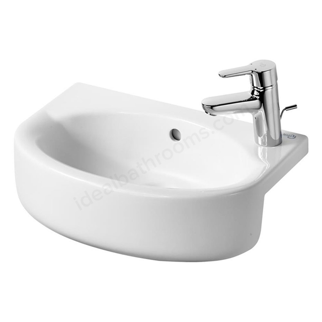 Ideal Standard CONCEPT SPACE Arc Furniture Semi Countertop  Basin; Right Handed 1 Tap Hole; 500mm; White