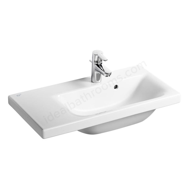 Ideal Standard CONCEPT SPACE Washbasin; Left Handed 1 Tap Hole; 700mm; White