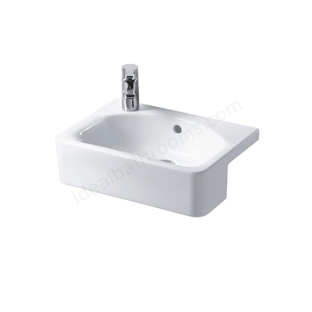 Ideal Standard CONCEPT SPACE Cube Semi Countertop Basin; Left Handed 1 Tap Hole; 500mm; White