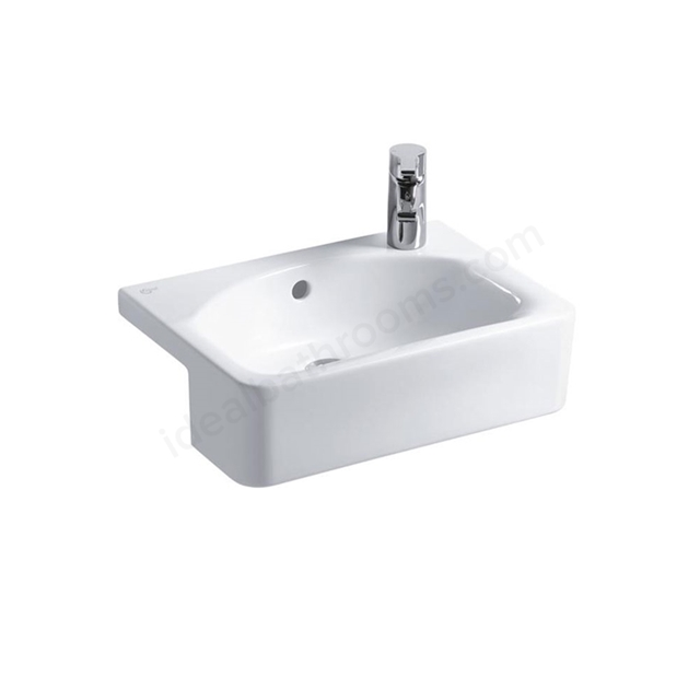 Ideal Standard CONCEPT SPACE Cube Semi Countertop Basin; Right Handed 1 Tap Hole; 500mm; White