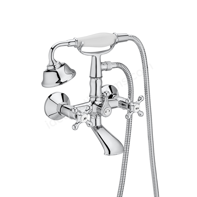 Roca Carmen Wall Mounted Twin Handle Bath/Shower Mixer with Kit