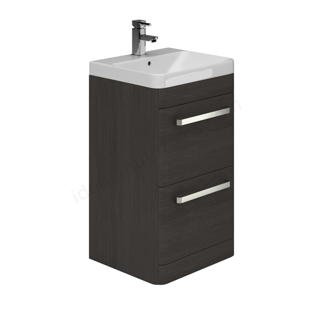 Essential VERMONT 500mm Floor Standing 2 Drawer Unit + Basin - Dark Grey