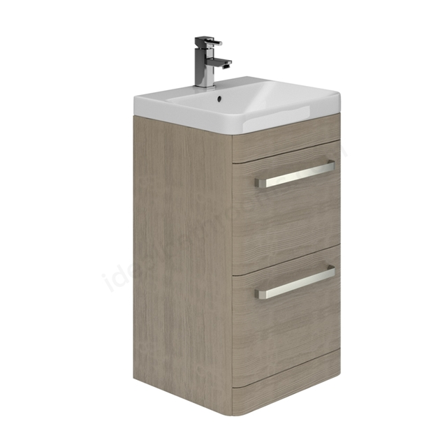 Essential VERMONT 500mm Floor Standing 2 Drawer Unit + Basin - Light Grey