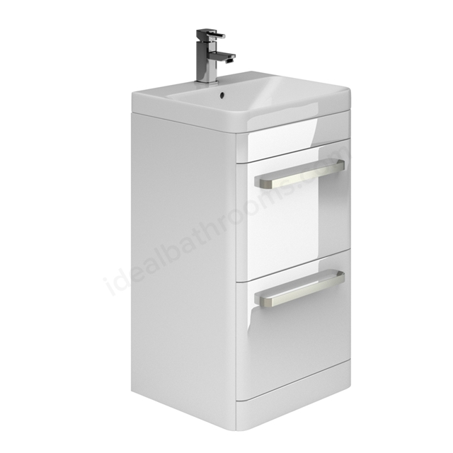 Essential VERMONT 500mm Floor Standing 2 Drawer Unit + Basin - White