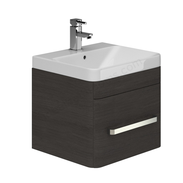Essential VERMONT 500mm Wall Hung 1 Drawer Unit + Basin - Dark Grey