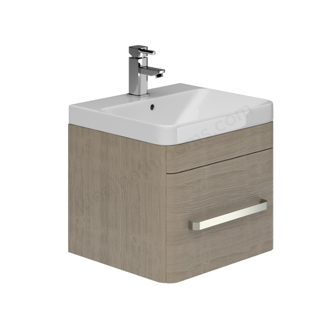 Essential VERMONT 500mm Wall Hung 1 Drawer Unit + Basin - Light Grey
