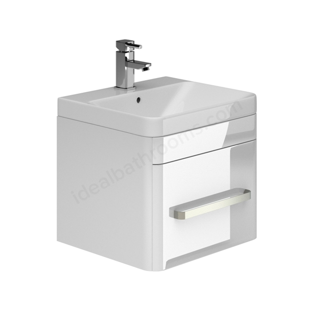 Essential VERMONT 500mm Wall Hung 1 Drawer Unit + Basin - White