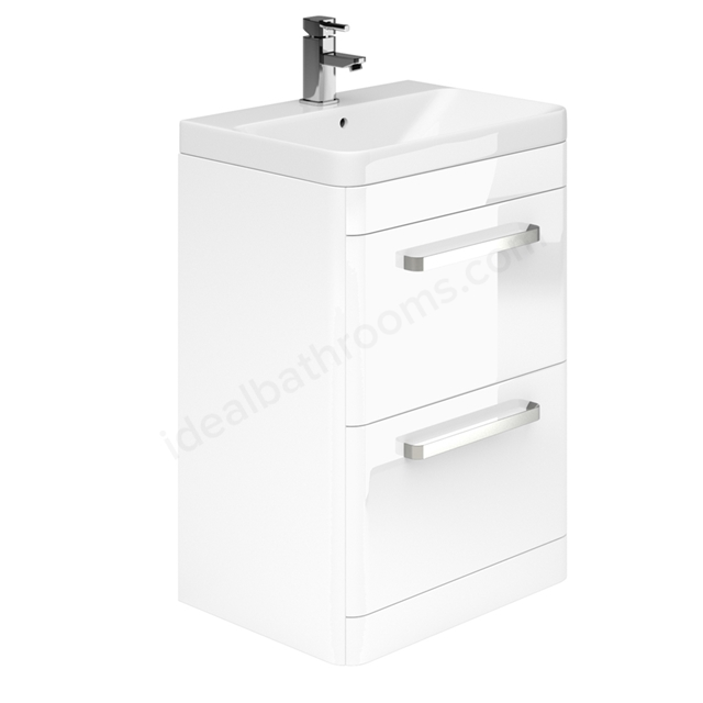 Essential VERMONT Floor Standing Washbasin Unit + Basin; 2 Drawer; 600mm Wide; White