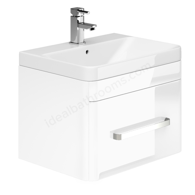 Essential VERMONT Wall Hung Washbasin Unit + Basin; 1 Drawer; 600mm Wide; White Gloss