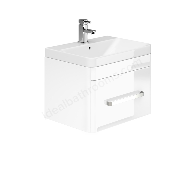 Essential VERMONT Wall Hung Washbasin Unit + Basin; 1 Drawer; 800mm Wide; White Gloss